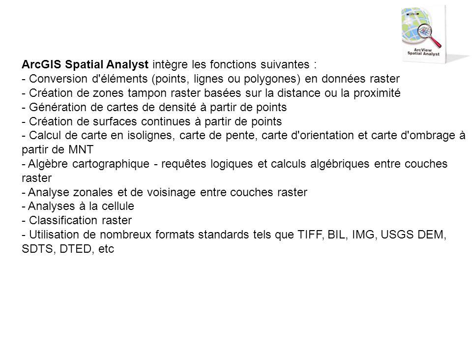 ArcGIS Spatial Analyst intègre les fonctions suivantes : - Conversion d'éléments (points, lignes ou polygones) en données raster - Création de zones t