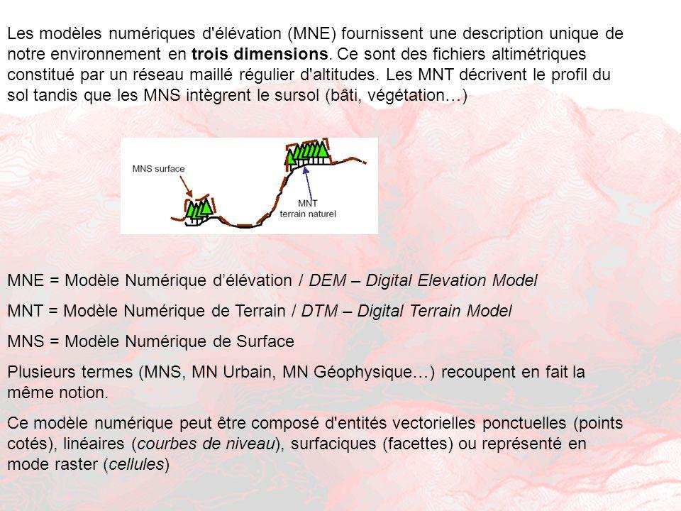 Les modèles numériques d'élévation (MNE) fournissent une description unique de notre environnement en trois dimensions. Ce sont des fichiers altimétri