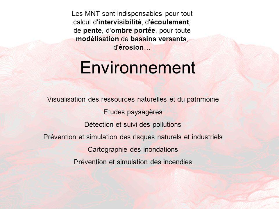 Environnement Visualisation des ressources naturelles et du patrimoine Etudes paysagères Détection et suivi des pollutions Prévention et simulation de
