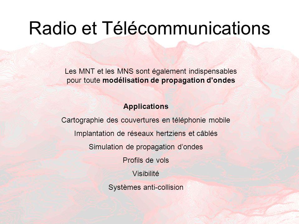 Radio et Télécommunications Applications Cartographie des couvertures en téléphonie mobile Implantation de réseaux hertziens et câblés Simulation de p