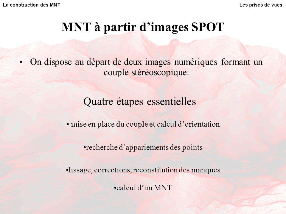 MNT à partir d'images SPOT On dispose au départ de deux images numériques formant un couple stéréoscopique. Les prises de vuesLa construction des MNT