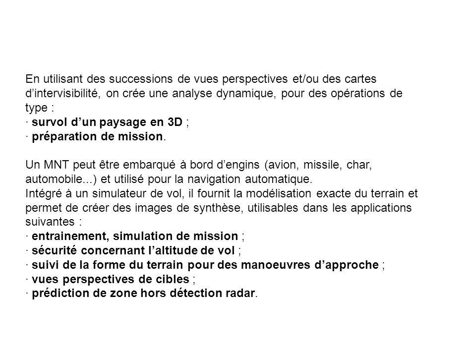En utilisant des successions de vues perspectives et/ou des cartes d'intervisibilité, on crée une analyse dynamique, pour des opérations de type : · survol d'un paysage en 3D ; · préparation de mission.
