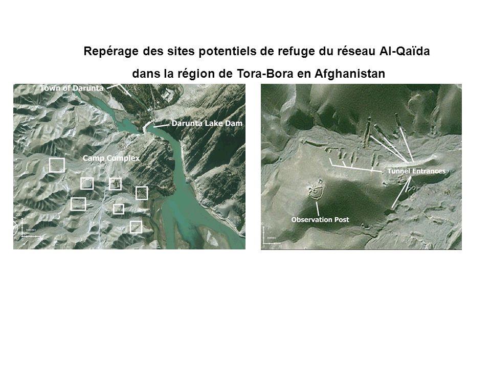 Repérage des sites potentiels de refuge du réseau Al-Qaïda dans la région de Tora-Bora en Afghanistan