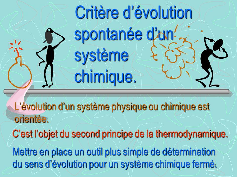 1 Critère d'évolution spontanée d'un système chimique. Critère d'évolution spontanée d'un système chimique. L'évolution d'un système physique ou chimi