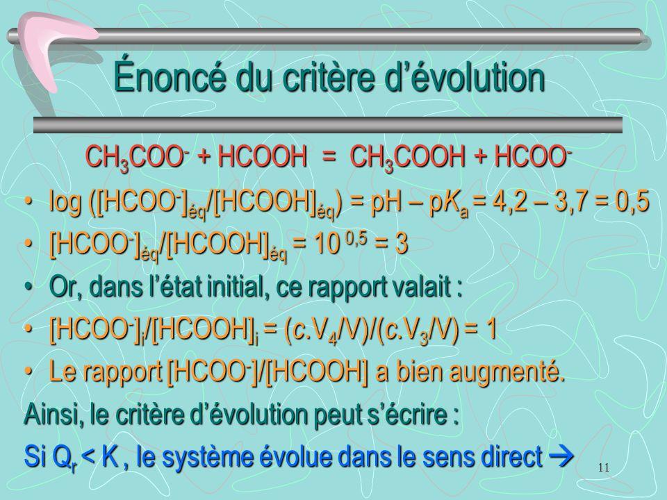 11 Énoncé du critère d'évolution log ([HCOO - ] éq /[HCOOH] éq ) = pH – p K a = 4,2 – 3,7 = 0,5log ([HCOO - ] éq /[HCOOH] éq ) = pH – p K a = 4,2 – 3,