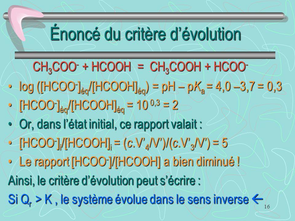 16 Énoncé du critère d'évolution log ([HCOO - ] éq /[HCOOH] éq ) = pH – p K a = 4,0 –3,7 = 0,3log ([HCOO - ] éq /[HCOOH] éq ) = pH – p K a = 4,0 –3,7