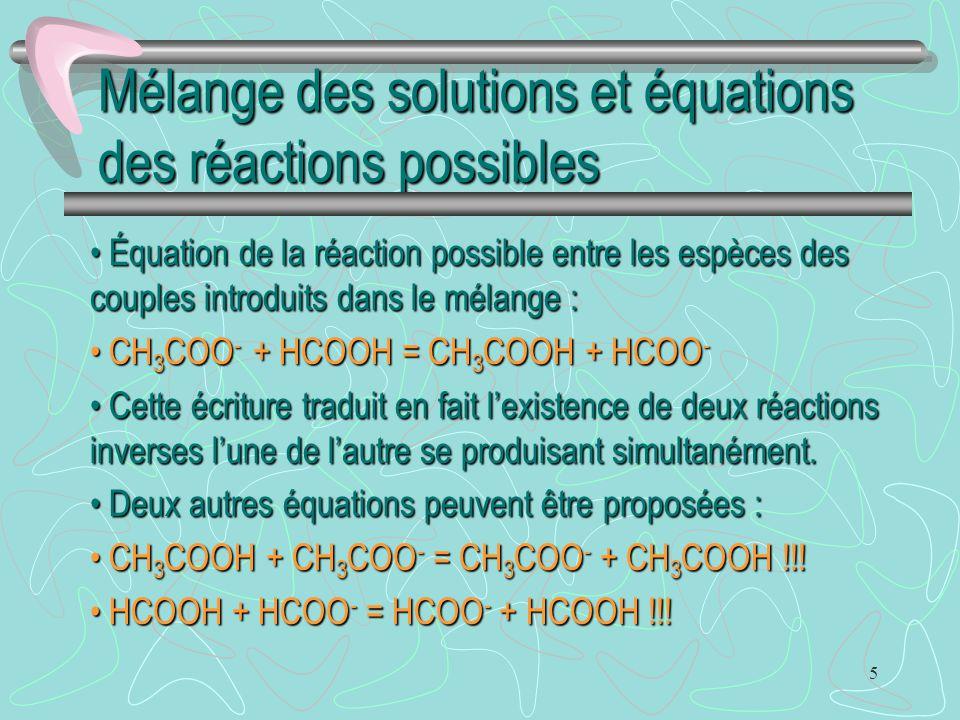 5 Mélange des solutions et équations des réactions possibles Équation de la réaction possible entre les espèces des couples introduits dans le mélange