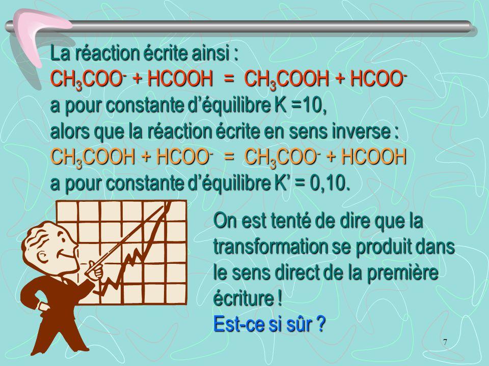 7 La réaction écrite ainsi : CH 3 COO - + HCOOH = CH 3 COOH + HCOO - a pour constante d'équilibre K =10, On est tenté de dire que la transformation se