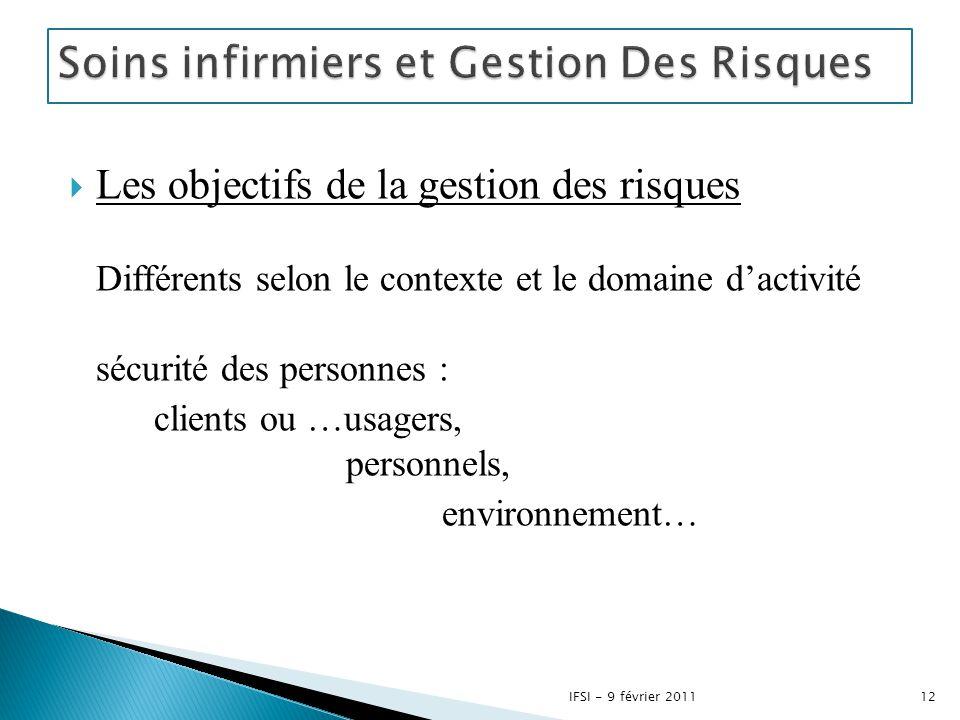  Les objectifs de la gestion des risques Différents selon le contexte et le domaine d'activité sécurité des personnes : clients ou …usagers, personne