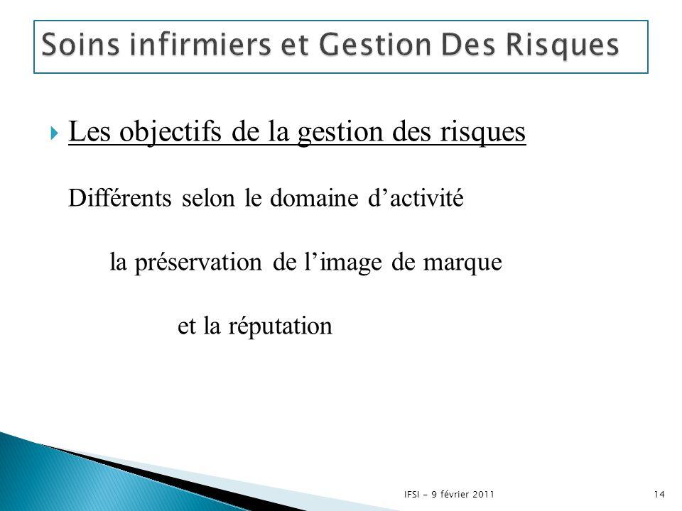  Les objectifs de la gestion des risques Différents selon le domaine d'activité la préservation de l'image de marque et la réputation 14IFSI - 9 févr