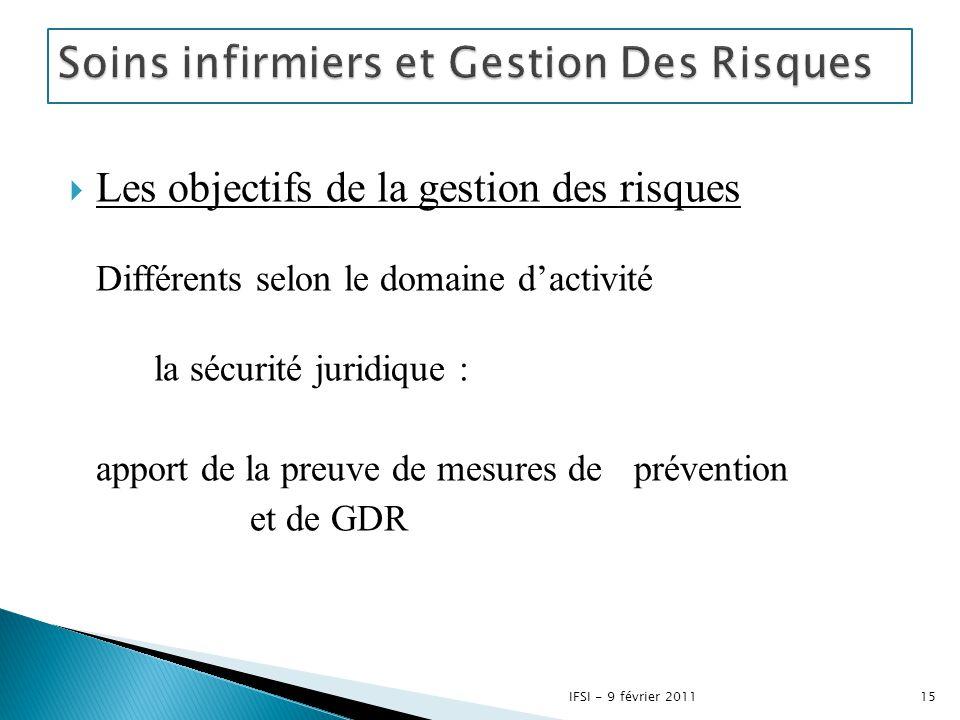  Les objectifs de la gestion des risques Différents selon le domaine d'activité la sécurité juridique : apport de la preuve de mesures de prévention