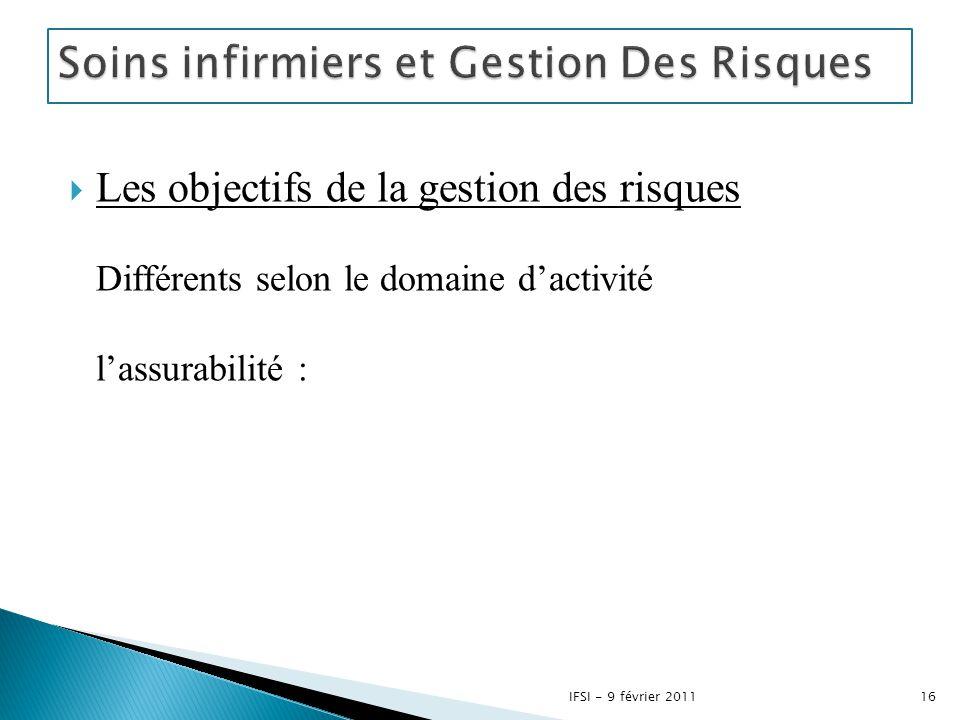  Les objectifs de la gestion des risques Différents selon le domaine d'activité l'assurabilité : 16IFSI - 9 février 2011