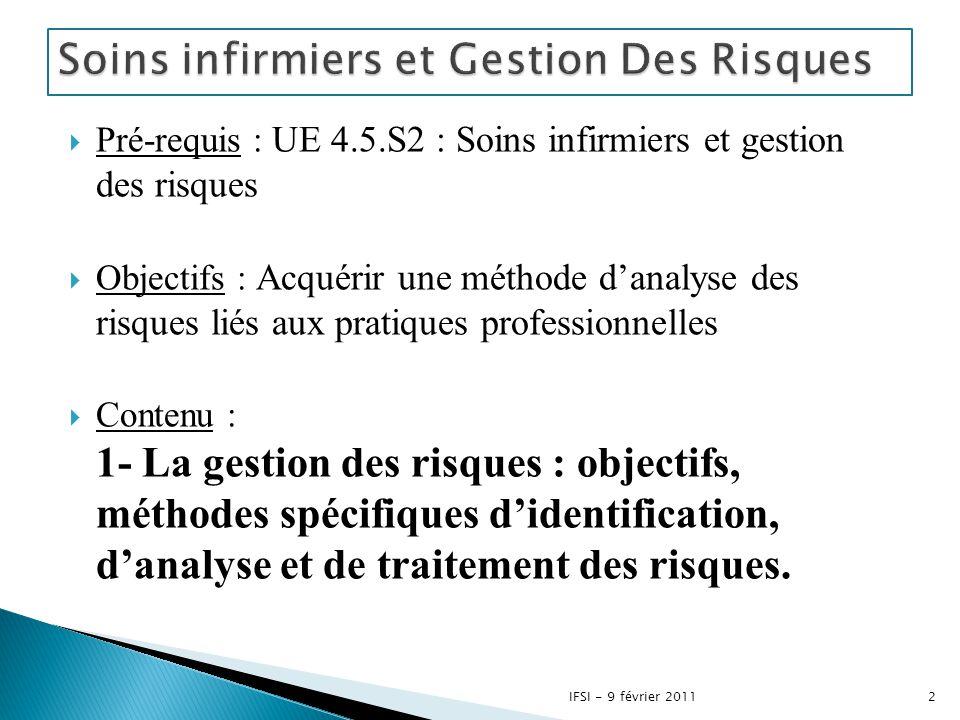  Pré-requis : UE 4.5.S2 : Soins infirmiers et gestion des risques  Objectifs : Acquérir une méthode d'analyse des risques liés aux pratiques profess
