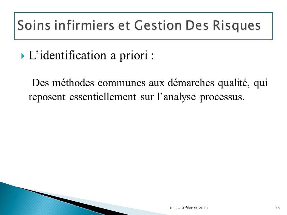  L'identification a priori : Des méthodes communes aux démarches qualité, qui reposent essentiellement sur l'analyse processus. 35IFSI - 9 février 20