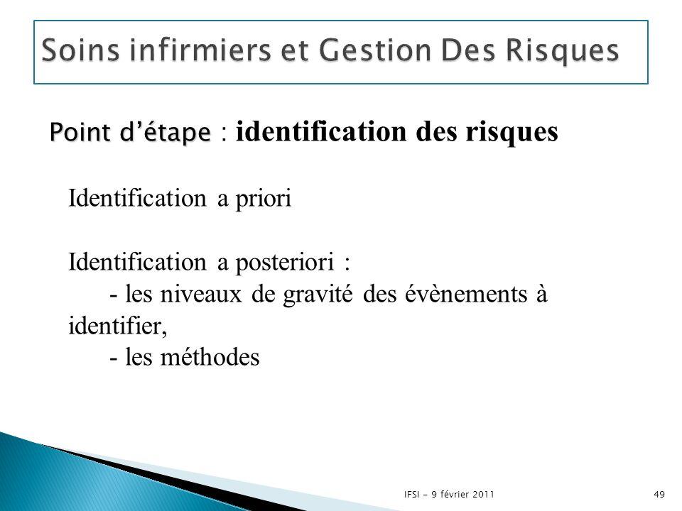 Point d'étape Point d'étape : identification des risques Identification a priori Identification a posteriori : - les niveaux de gravité des évènements
