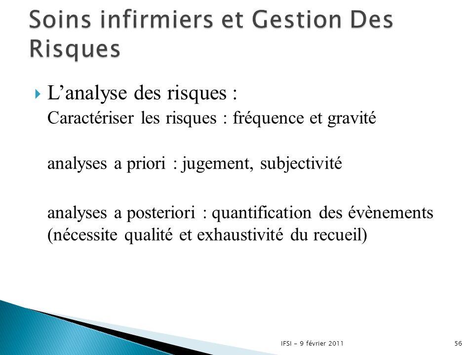  L'analyse des risques : Caractériser les risques : fréquence et gravité analyses a priori : jugement, subjectivité analyses a posteriori : quantific