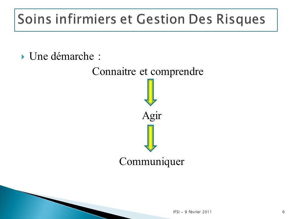  Une démarche : Connaitre et comprendre Agir Communiquer 6IFSI - 9 février 2011