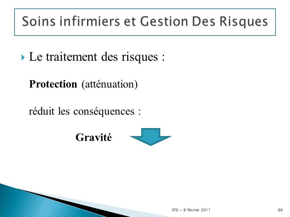  Le traitement des risques : Protection (atténuation) réduit les conséquences : Gravité 66IFSI - 9 février 2011