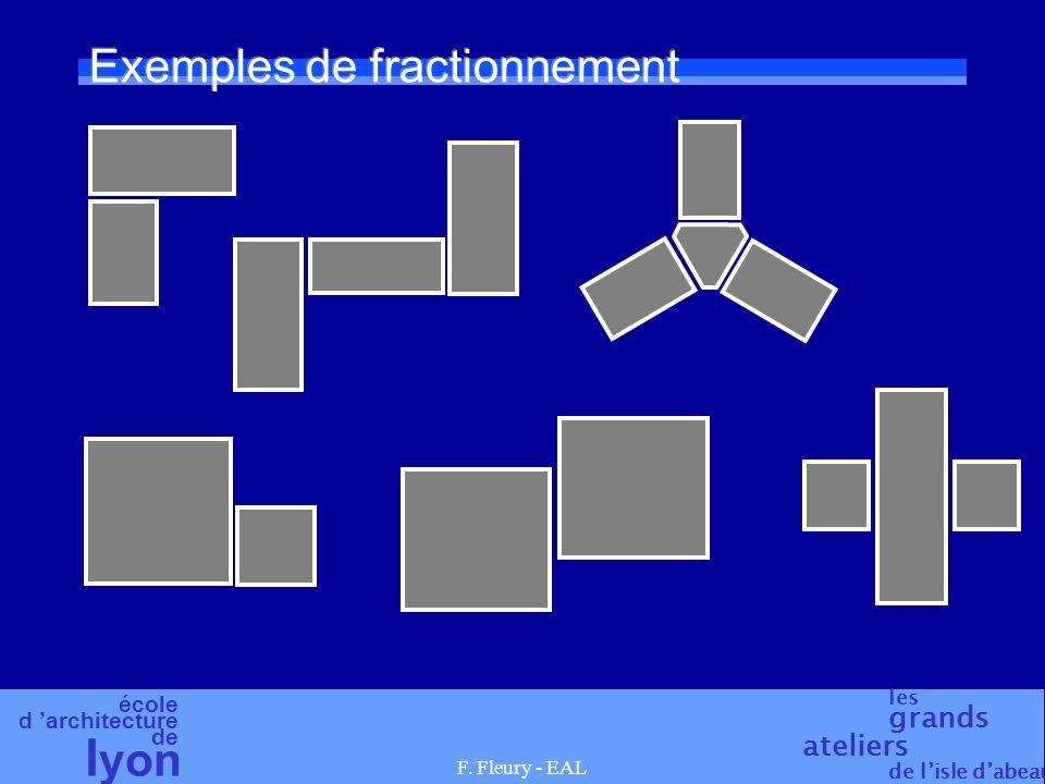 école d 'architecture de l yon les grands ateliers de l'isle d'abeau F. Fleury - EAL Exemples de fractionnement