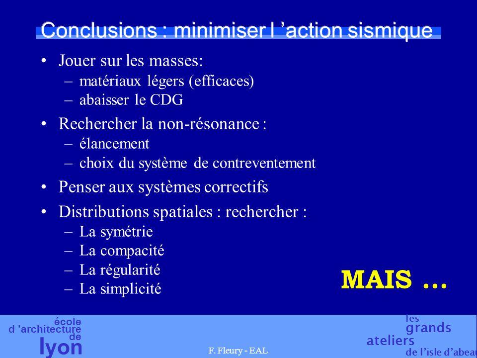 école d 'architecture de l yon les grands ateliers de l'isle d'abeau F. Fleury - EAL Conclusions : minimiser l 'action sismique Jouer sur les masses: