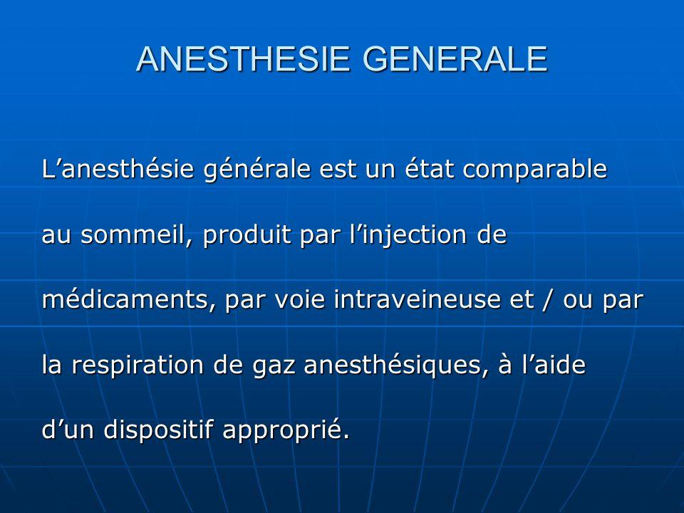 ANESTHESIE GENERALE L'anesthésie générale est un état comparable au sommeil, produit par l'injection de médicaments, par voie intraveineuse et / ou pa
