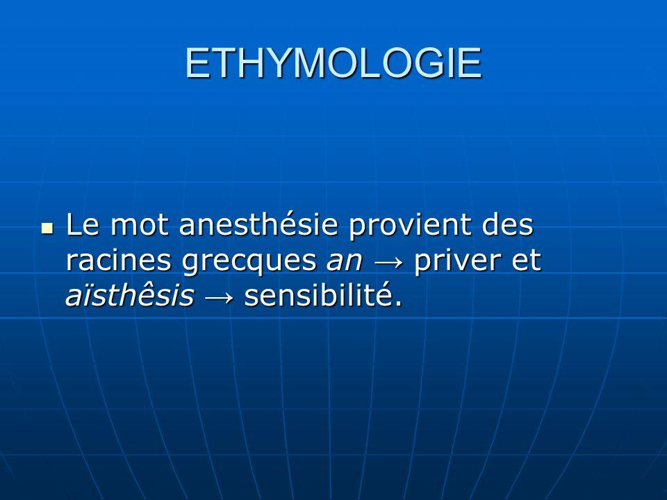 ETHYMOLOGIE Le mot anesthésie provient des racines grecques an → priver et aïsthêsis → sensibilité. Le mot anesthésie provient des racines grecques an
