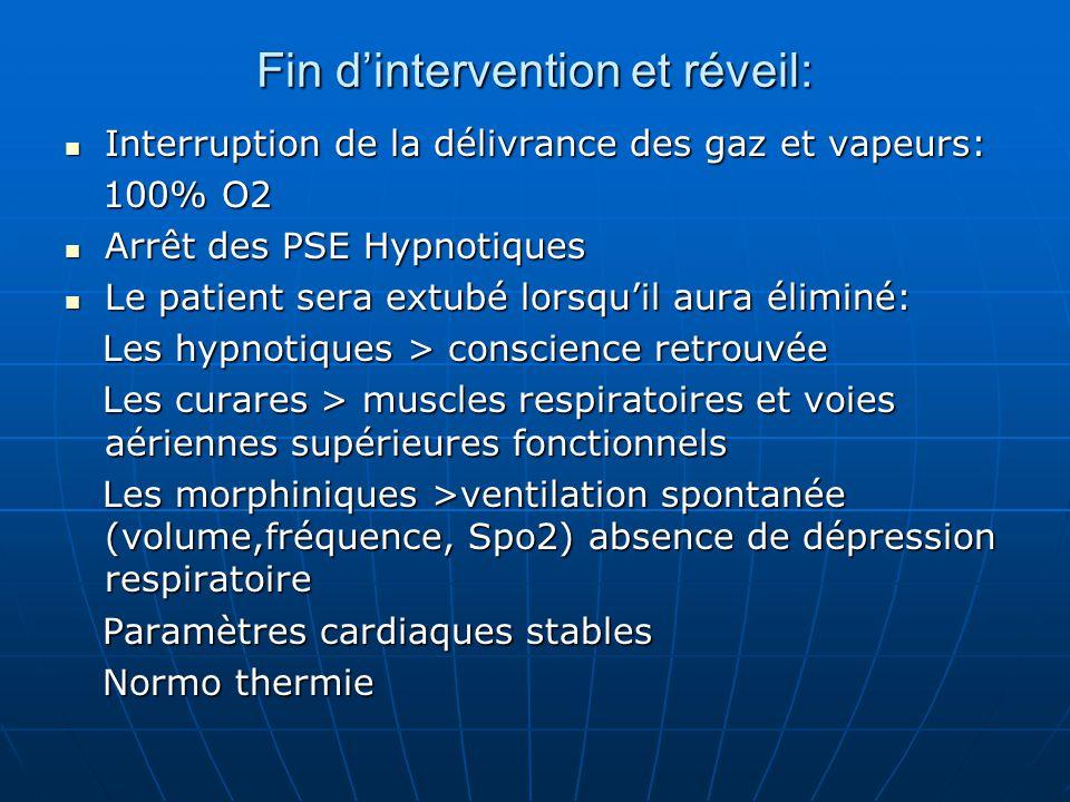 Fin d'intervention et réveil: Interruption de la délivrance des gaz et vapeurs: Interruption de la délivrance des gaz et vapeurs: 100% O2 100% O2 Arrê