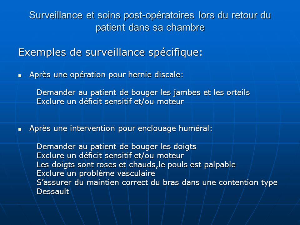 Surveillance et soins post-opératoires lors du retour du patient dans sa chambre Exemples de surveillance spécifique: Après une opération pour hernie