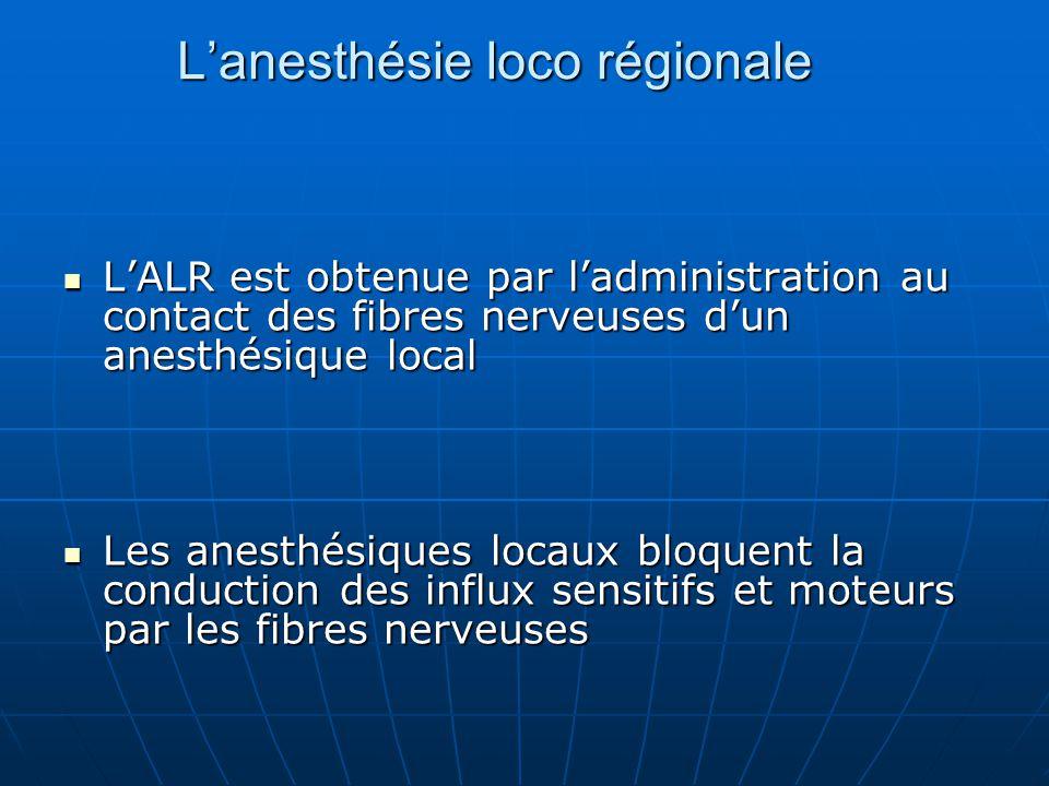 L'anesthésie loco régionale L'ALR est obtenue par l'administration au contact des fibres nerveuses d'un anesthésique local L'ALR est obtenue par l'adm