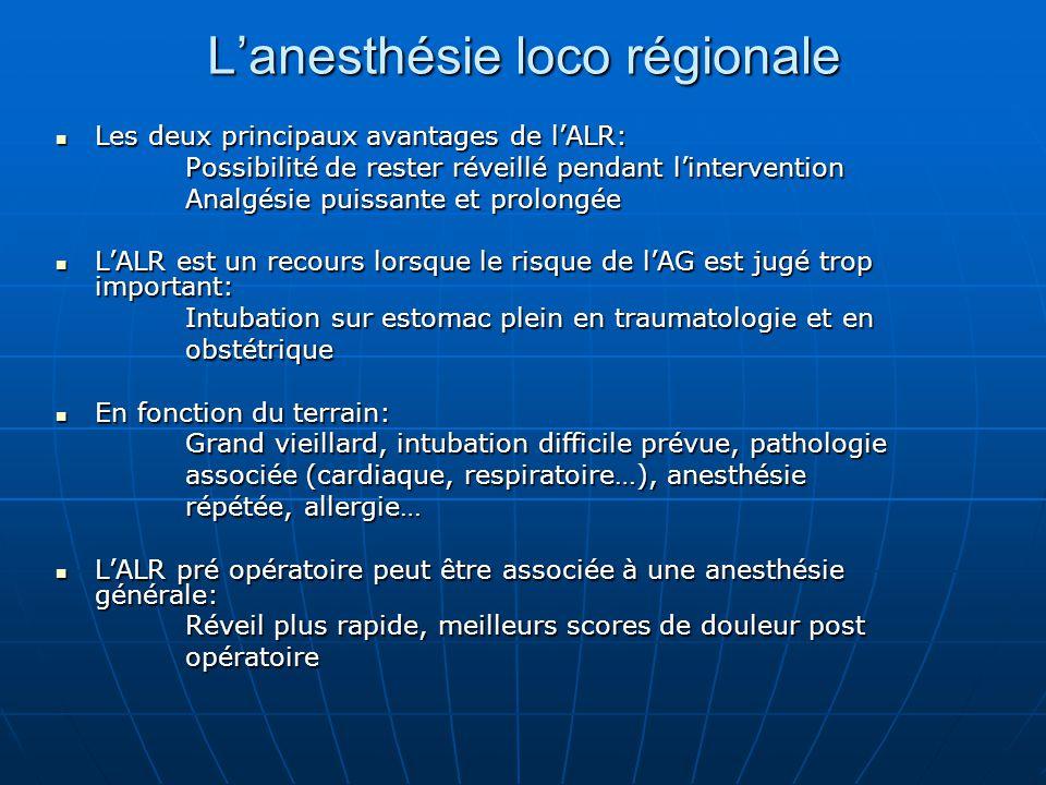 L'anesthésie loco régionale Les deux principaux avantages de l'ALR: Les deux principaux avantages de l'ALR: Possibilité de rester réveillé pendant l'i