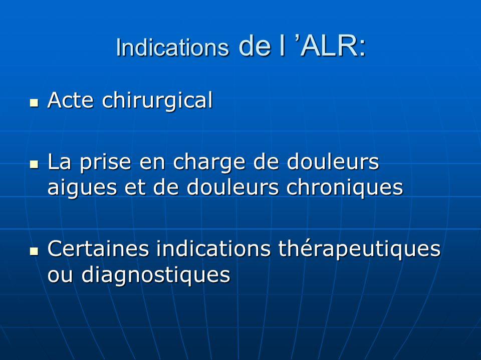 Indications de l 'ALR: Acte chirurgical Acte chirurgical La prise en charge de douleurs aigues et de douleurs chroniques La prise en charge de douleur