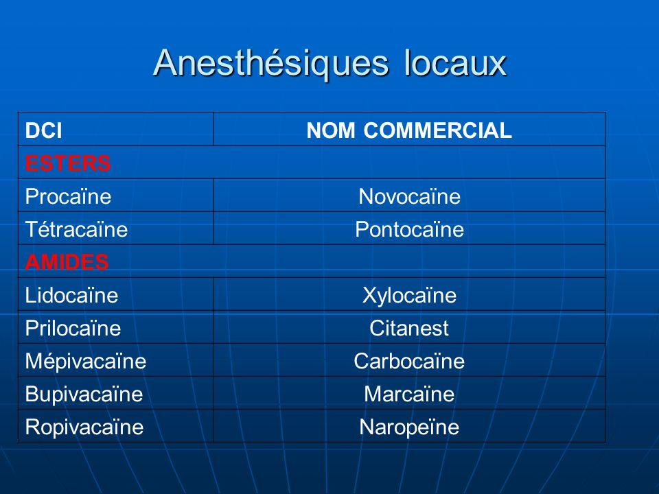 Anesthésiques locaux DCINOM COMMERCIAL ESTERS ProcaïneNovocaïne TétracaïnePontocaïne AMIDES LidocaïneXylocaïne PrilocaïneCitanest MépivacaïneCarbocaïn