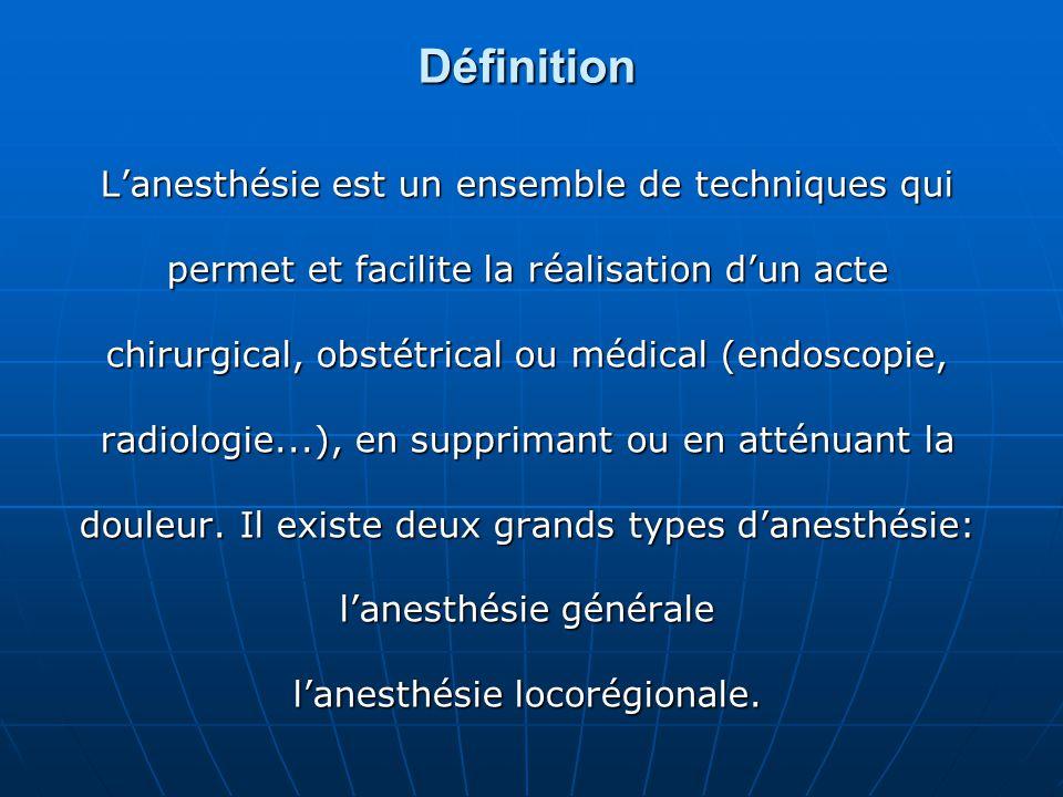 Définition L'anesthésie est un ensemble de techniques qui permet et facilite la réalisation d'un acte chirurgical, obstétrical ou médical (endoscopie,