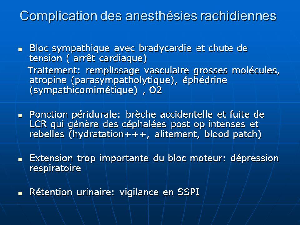 Complication des anesthésies rachidiennes Bloc sympathique avec bradycardie et chute de tension ( arrêt cardiaque) Bloc sympathique avec bradycardie e