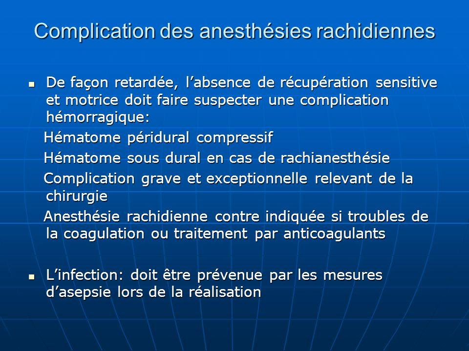 Complication des anesthésies rachidiennes De façon retardée, l'absence de récupération sensitive et motrice doit faire suspecter une complication hémo