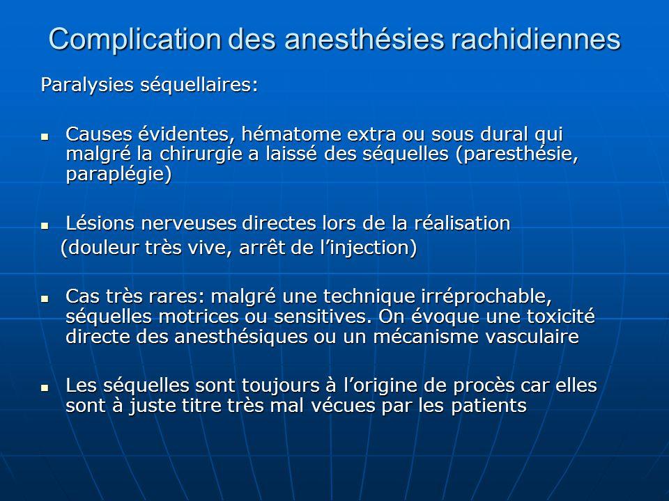 Complication des anesthésies rachidiennes Paralysies séquellaires: Causes évidentes, hématome extra ou sous dural qui malgré la chirurgie a laissé des