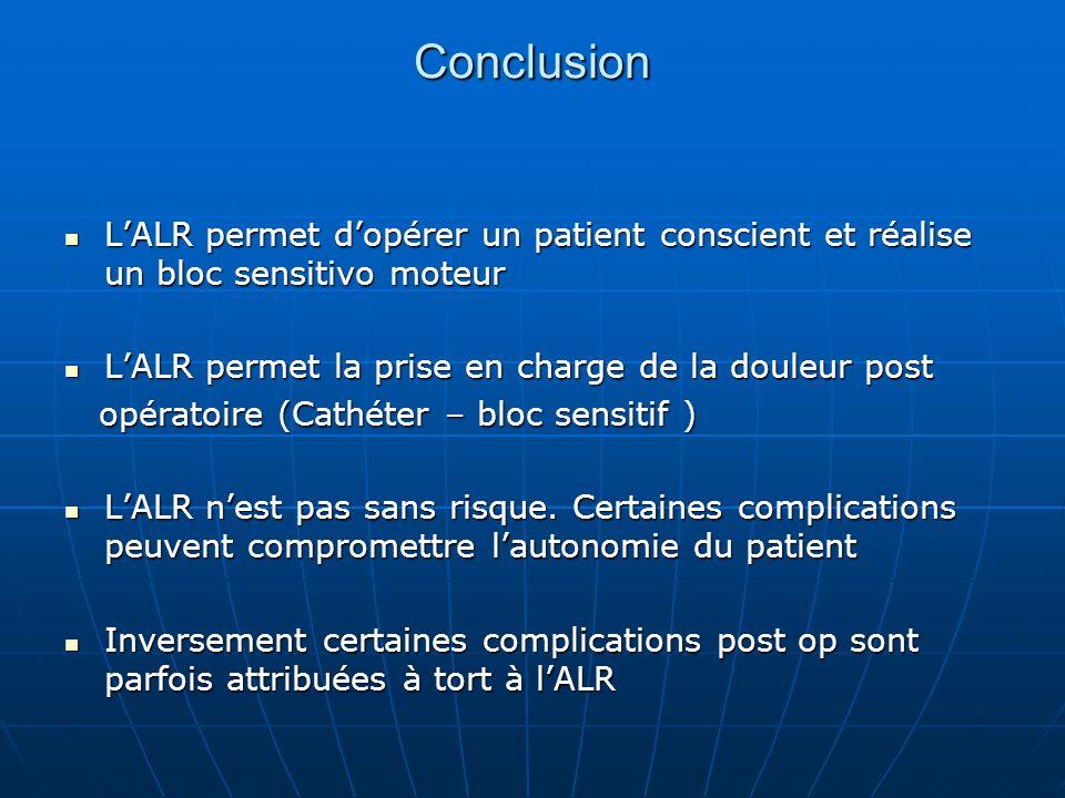 Conclusion L'ALR permet d'opérer un patient conscient et réalise un bloc sensitivo moteur L'ALR permet d'opérer un patient conscient et réalise un blo