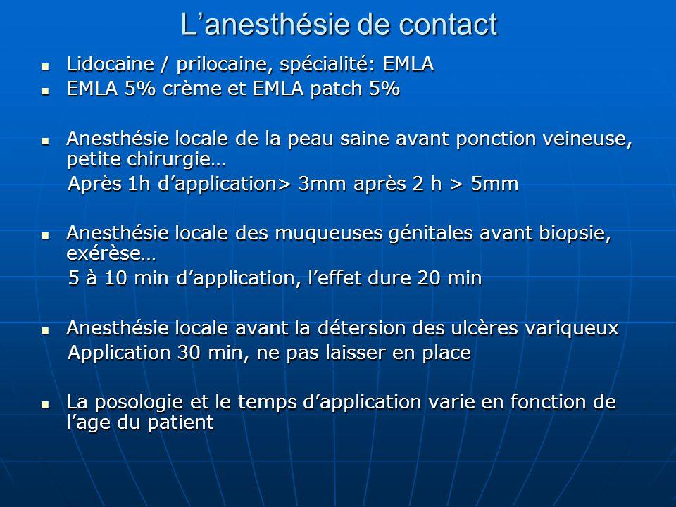 L'anesthésie de contact Lidocaine / prilocaine, spécialité: EMLA Lidocaine / prilocaine, spécialité: EMLA EMLA 5% crème et EMLA patch 5% EMLA 5% crème