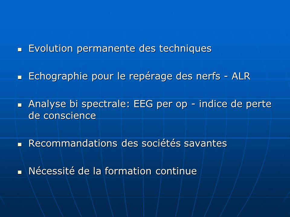 Evolution permanente des techniques Evolution permanente des techniques Echographie pour le repérage des nerfs - ALR Echographie pour le repérage des