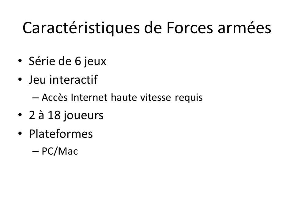 Caractéristiques de Forces armées Série de 6 jeux Jeu interactif – Accès Internet haute vitesse requis 2 à 18 joueurs Plateformes – PC/Mac
