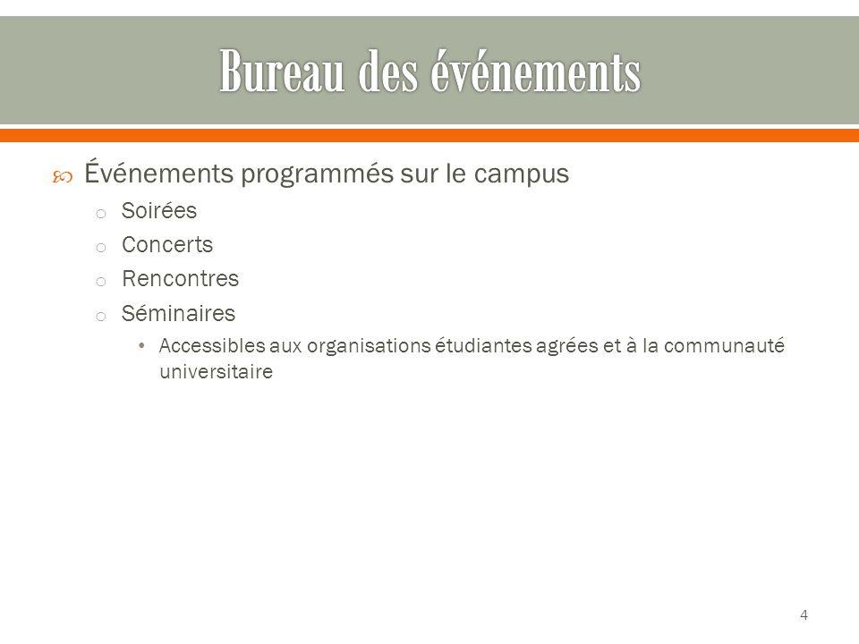  Événements programmés sur le campus o Soirées o Concerts o Rencontres o Séminaires Accessibles aux organisations étudiantes agrées et à la communauté universitaire 4