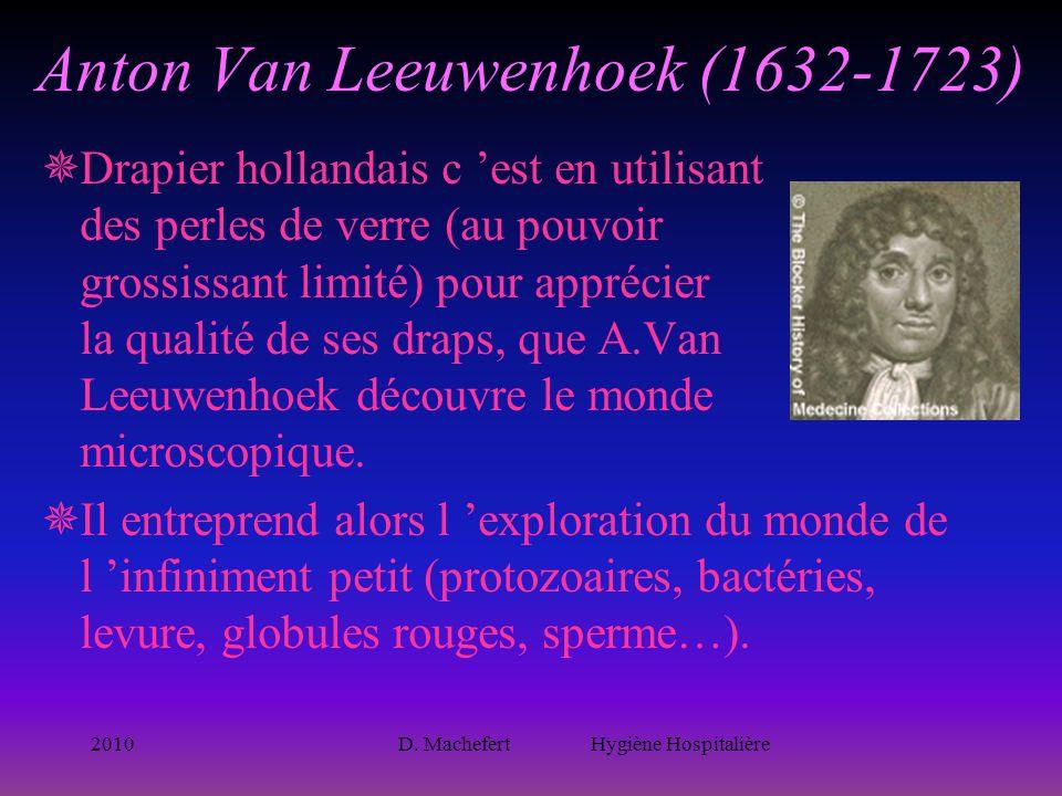 2010D. Machefert Hygiène Hospitalière Anton Van Leeuwenhoek (1632-1723)  Drapier hollandais c 'est en utilisant des perles de verre (au pouvoir gross