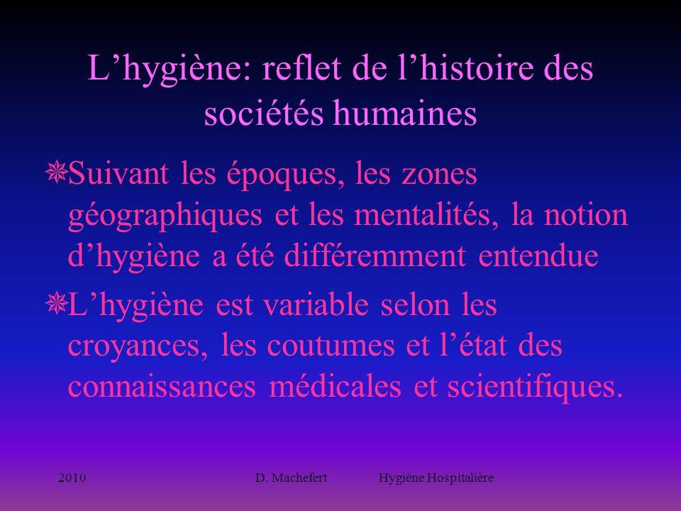 2010D. Machefert Hygiène Hospitalière L'hygiène: reflet de l'histoire des sociétés humaines  Suivant les époques, les zones géographiques et les ment