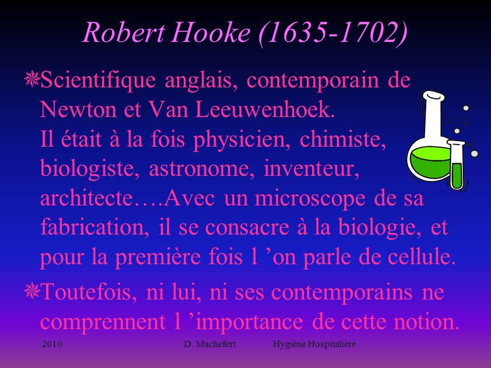 2010D. Machefert Hygiène Hospitalière Robert Hooke (1635-1702)  Scientifique anglais, contemporain de Newton et Van Leeuwenhoek. Il était à la fois p