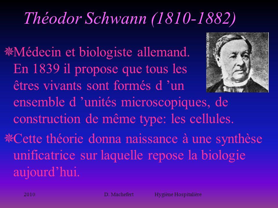 2010D. Machefert Hygiène Hospitalière Théodor Schwann (1810-1882)  Médecin et biologiste allemand. En 1839 il propose que tous les êtres vivants sont