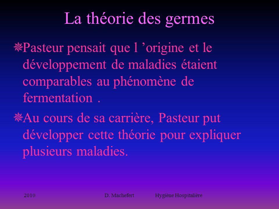 2010D. Machefert Hygiène Hospitalière La théorie des germes  Pasteur pensait que l 'origine et le développement de maladies étaient comparables au ph