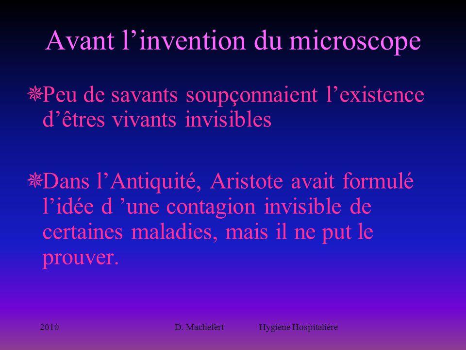 2010D. Machefert Hygiène Hospitalière Avant l'invention du microscope  Peu de savants soupçonnaient l'existence d'êtres vivants invisibles  Dans l'A