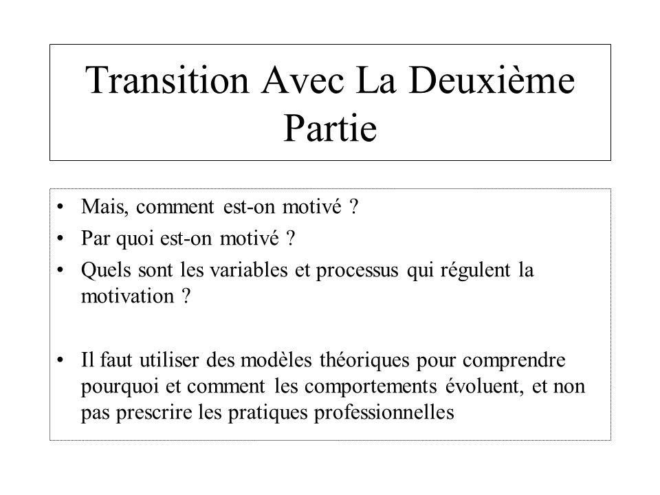 Transition Avec La Deuxième Partie Mais, comment est-on motivé ? Par quoi est-on motivé ? Quels sont les variables et processus qui régulent la motiva