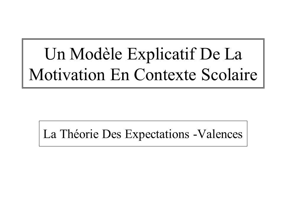 Un Modèle Explicatif De La Motivation En Contexte Scolaire La Théorie Des Expectations -Valences