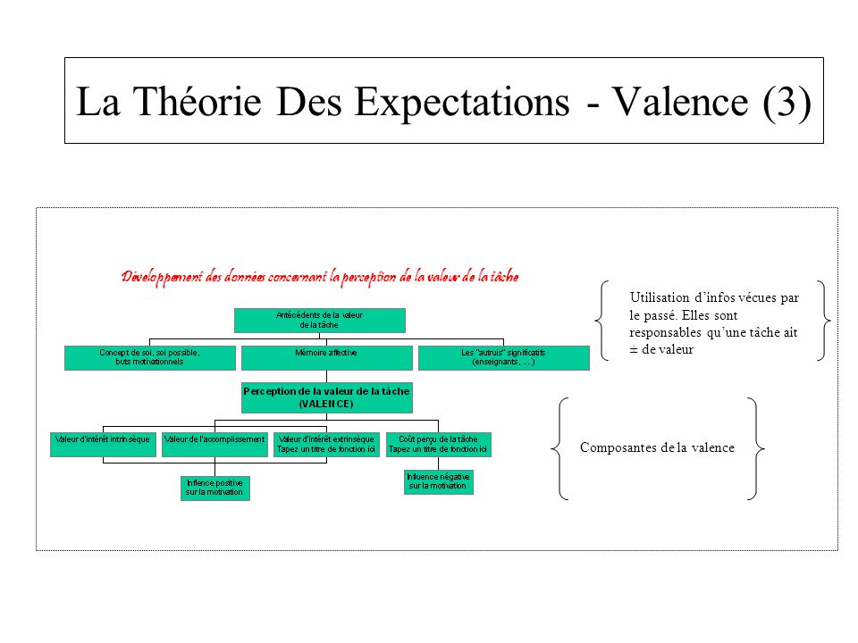 La Théorie Des Expectations - Valence (3) Utilisation d'infos vécues par le passé. Elles sont responsables qu'une tâche ait ± de valeur Composantes de